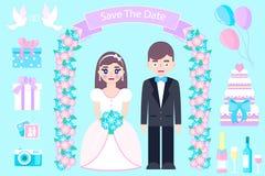 Poślubiać ustawiam na błękitnym bckground royalty ilustracja