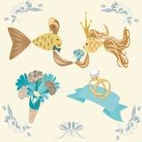 Poślubiać ustawiam z parą ryba Ilustracji