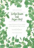 Poślubiać zaprasza zaproszenie menu karty greenery wektorowego kwiecistego desig ilustracji