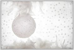 Poślubia Bożenarodzeniową kartka z pozdrowieniami bielu dekorację Fotografia Stock