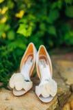 Poślubiający buty na dryluje granicę przeciw tłu zieleni liście Obrazy Royalty Free