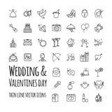 Poślubiający i walentynka dnia wektorowe ikony ustawiać royalty ilustracja