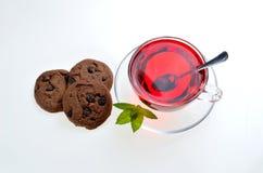 Poślubnik herbaciana szklana filiżanka na spodeczku z nowymi liśćmi, łyżką i c, Obraz Stock