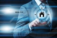 Pośrednik handlu nieruchomościami nabywc Faktorskiego Majątkowego zarządzania technologii Internetowy Biznesowy pojęcie Zdjęcia Royalty Free