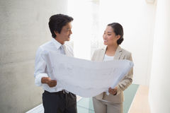 Pośrednik w handlu nieruchomościami patrzeje projekt z potencjalną nabywcą Zdjęcie Royalty Free
