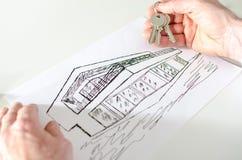Pośrednika handlu nieruchomościami mienia domu klucze Zdjęcie Stock