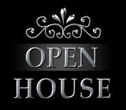 Pośrednika handlu nieruchomościami Otwartego domu srebra znak Zdjęcia Royalty Free