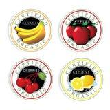 Poświadczający Organicznie owoc znaczka set Ilustracja Wektor