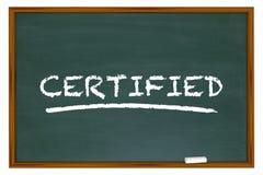Poświadczający słowa Chalkboard uczenie certyfikat royalty ilustracja