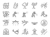 Pożar ikony kreskowy set Zawrzeć ikony jako pożarnicza burza, gasi, pożarnicza, strażak, góra, palenie, las i mor, ilustracja wektor