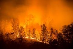 Pożar lasu, appalachian góry, sceniczne zdjęcia stock