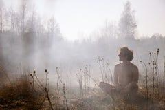 pożar ogień Globalny nagrzanie, środowiskowa katastrofa Conce Zdjęcia Stock