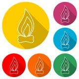 Pożarnicza ikona, kolor ikona z długim cieniem Obrazy Royalty Free