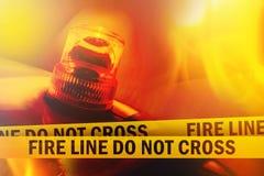 Pożarnicza linia no Krzyżuje Obrazy Royalty Free