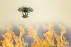Pożarnicza ochrona Pożarnicza kropidło głowa na białym suficie w budynku, czujnik akcja gdy dym wykrywał obrazy royalty free