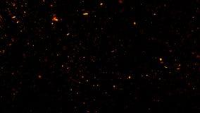 Pożarnicze embers cząsteczek tekstury narzuty Oparzenie skutek na odosobnionym czarnym tle Projekt tekstura ilustracji
