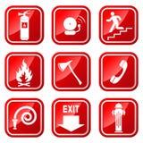 Pożarnicze ikony ilustracja wektor
