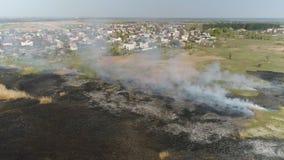 Pożarnicze płochy na rzece Powietrzna ankieta zbiory wideo