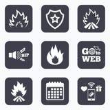 Pożarnicze płomień ikony Upałów znaki Obrazy Stock