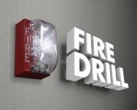Pożarniczego świderu alarma nagłego wypadku 3d słowa ilustracja wektor