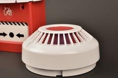 Pożarniczego alarma ochrona na czerni obrazy stock