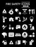 Pożarniczego bezpieczeństwa glifu ikony set, przeciwawaryjni symbole kolekcja, wektor kreśli, logo ilustracje, alarmów znaki stal ilustracji