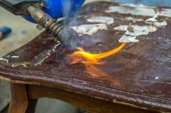 Pożarniczego blezeru płonący drewno Zdjęcia Stock