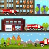 Pożarniczego boju sztandarów wektoru wydziałowy horyzontalny set Stacja i strażacy ilustracji