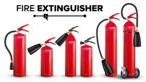 Pożarniczego gasidła Ustalony wektor Różni typ Metalu Glossiness 3D Realistyczny Czerwony Pożarniczy gasidło Odizolowywał ilustra Zdjęcie Royalty Free