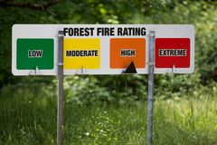 Pożarniczego niebezpieczeństwa ostrzeżenia znaka ratingowy stan pogotowia Obraz Royalty Free