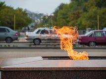 Pożarniczego płomienia symbolu pamięci wydarzenia pomnikowego pomnikowego grodzkiego miasta tła ruchu drogowego motorowego transp obrazy royalty free