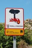 Pożarniczego ryzyka znak, Majorca fotografia stock