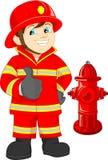 Pożarniczego wojownika kreskówki kciuk up ilustracja wektor