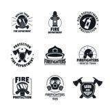 Pożarniczego wojownika loga ikony ustawiać, mieszkanie styl ilustracji