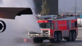 Pożarniczy świder przy Frankfurt lotniskiem zbiory