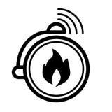 Pożarniczy alarm, dzwon alarmowy kreskowa ikona Wektorowa ilustracja odizolowywająca na bielu konturu stylu projekt, projektujący ilustracji