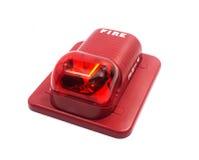 Pożarniczy alarm z budujący w stroboskopu świetle ostrzegać w przypadku ogienia obrazy royalty free
