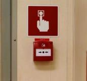 Pożarniczy alarmy, przeciwawaryjni pchnięcie guziki, sygnał ostrzegać everyone obrazy royalty free