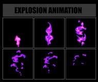 Pożarniczy animacj sprites, wektorowego płomienia wideo ramy dla gemowego projekta Fotografia Royalty Free