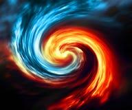 Pożarniczy i lodowy abstrakcjonistyczny tło Rewolucjonistki i błękita dym wiruje na ciemnym tle