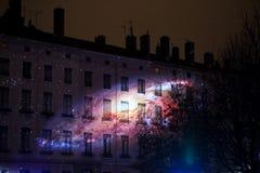pożarniczy koło Fête des Lumières, Lion - zdjęcie stock