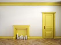 Pożarniczy miejsce, drzwiowy i parkietowy w klasycznym scandinavian żółtym wnętrzu ilustracja 3 d, Zdjęcia Stock