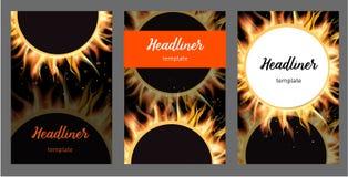 Pożarniczy okładkowy tło, A4 rozmiaru papier, Wektorowa ilustracja Zdjęcie Stock