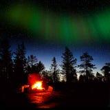 Pożarniczy palenie przy nocą w lesie Fotografia Stock