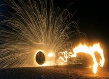 Pożarniczy przedstawienie na plaży Obrazy Royalty Free