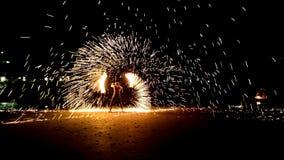 Pożarniczy przedstawienie przy Białą piasek plażą Obraz Royalty Free