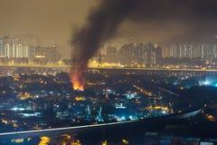 Pożarniczy wypadek w mieście zdjęcia royalty free