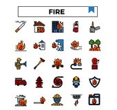 Pożarniczy zarządzanie wypełniający konturu projekta ikony set royalty ilustracja
