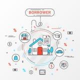 Pożyczającego infographics projekta pojęcie Płaski kreskowy wizerunek zawiera pożyczkowego zakupy, edukacja, handel, kredyta mies Zdjęcie Stock