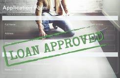 Pożyczka Zatwierdzający Akceptujący Podaniowej formy pojęcie zdjęcia royalty free